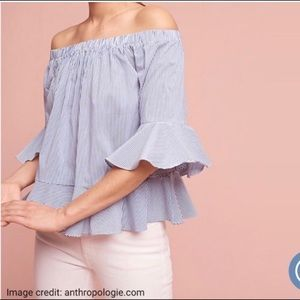 Anthropologie • pinstripe off the shower blouse